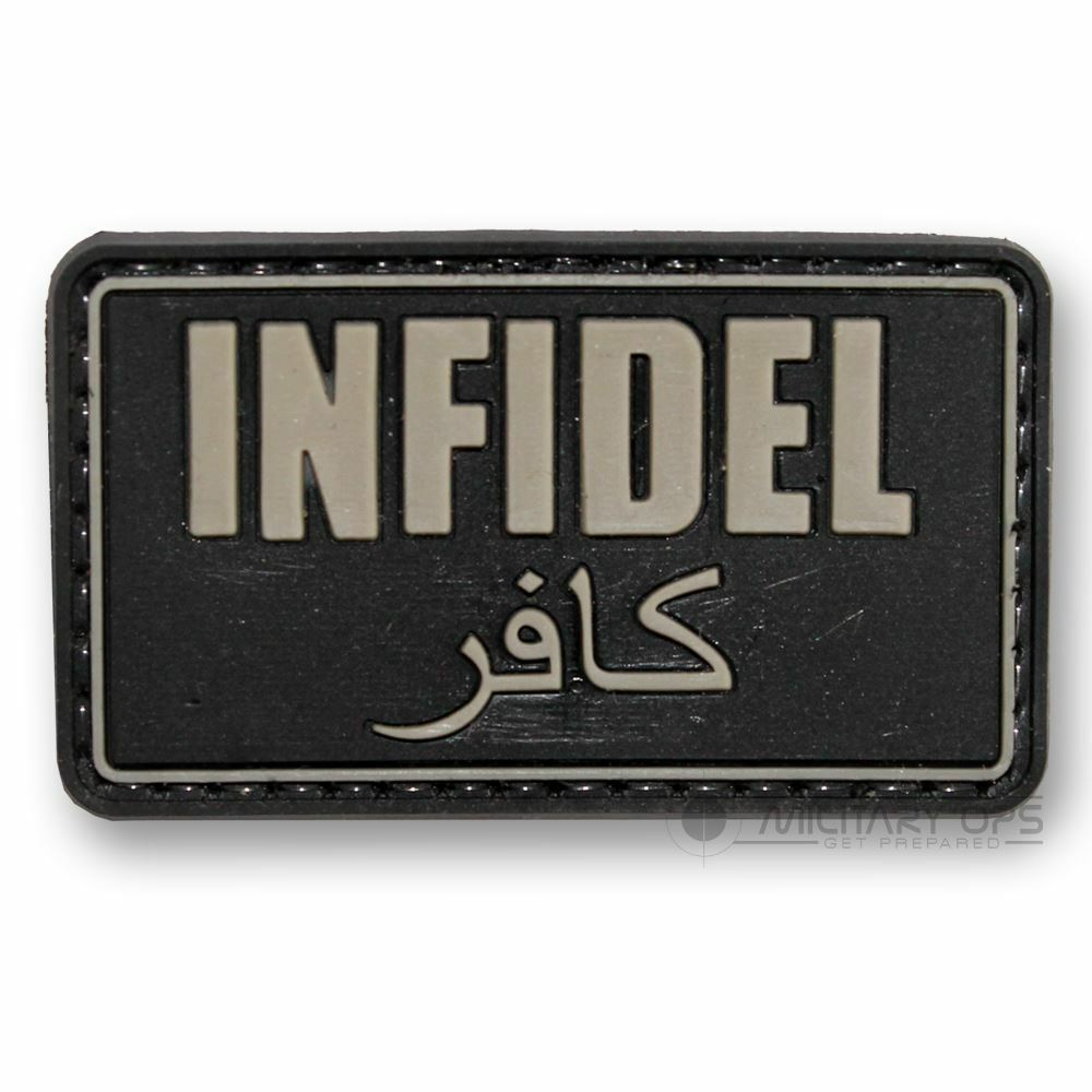 Vinyl Morale Patch Velcro Panel Rubber Infidel Black