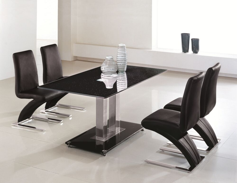 SAVIO LARGE RECTANGULAR GLASS CHROME DINING TABLE ONLY 4 COLOURS 150 Cm IJ