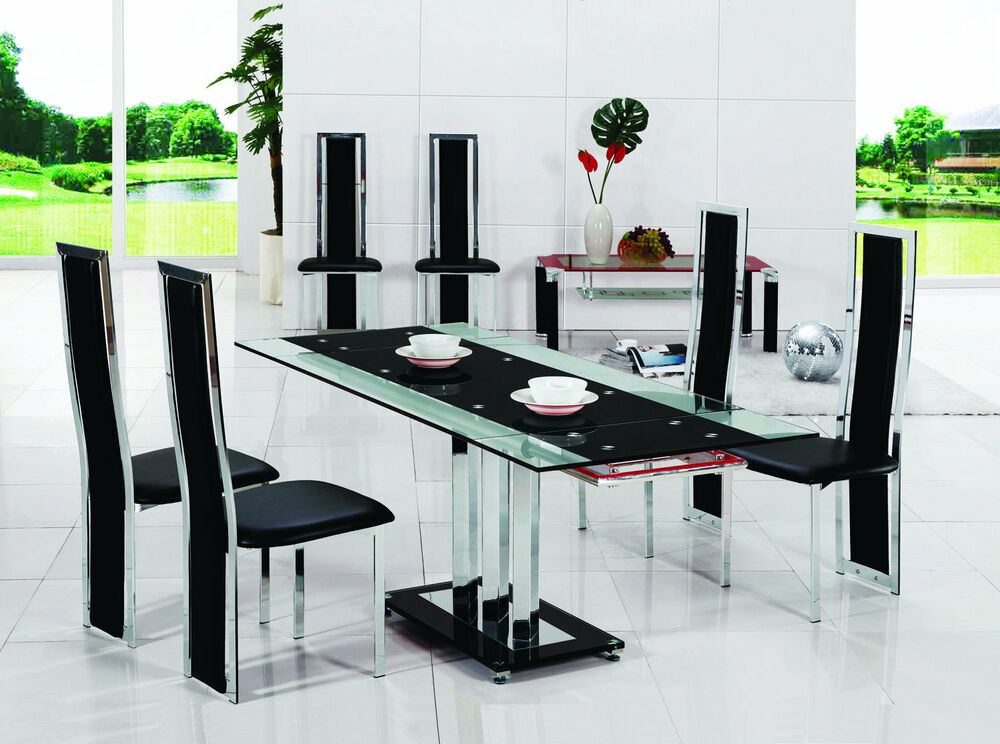 Pavia extending glass chrome dining room table 6 chairs for Glass dining table set