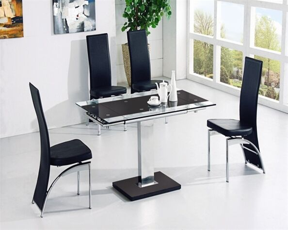 ENZA EXTENDING GLASS CHROME DINING ROOM TABLE 4 CHAIRS SET FURNITURE IJ