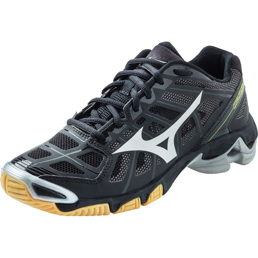 Black And Silver Mizuno Volleyball Shoes