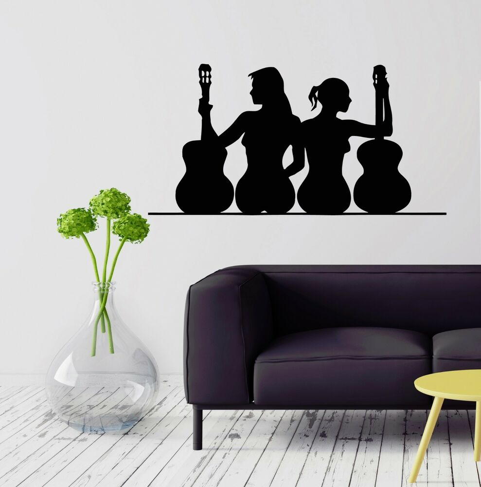 Wall stickers vinyl decal sexy woman music guitar for Silhouette wall art