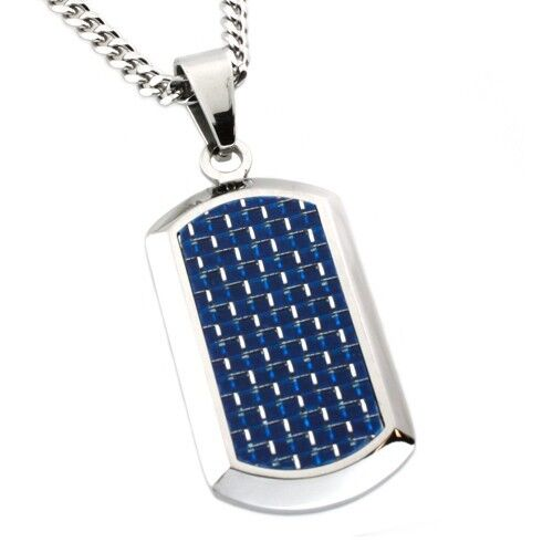 s stainless steel tag engravable pendant w blue