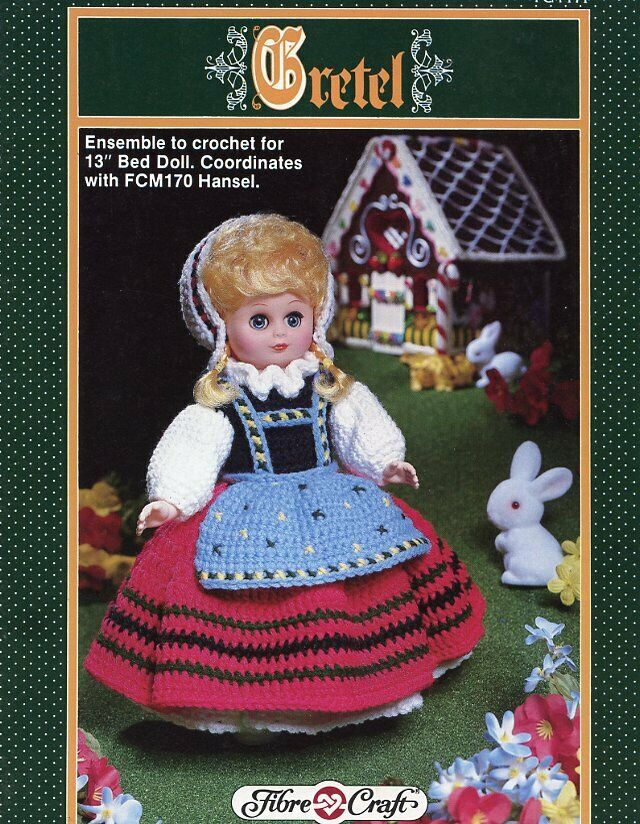 Gretel 13 bed doll outfit fibre craft crochet pattern for Fibre craft 18 inch doll