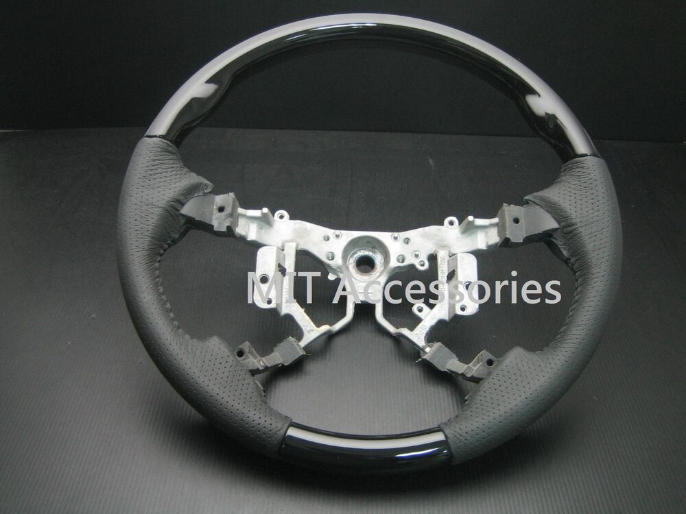 Mit Toyota Camry Aurion 2007 2011 Wood Leather Steering Wheel Black