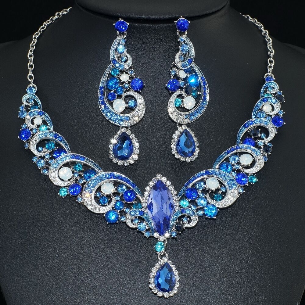 Bridal Jewelry Gift Sets : ... Rhinestone Crystal Earrings Necklace Set Bridal Party Gift eBay