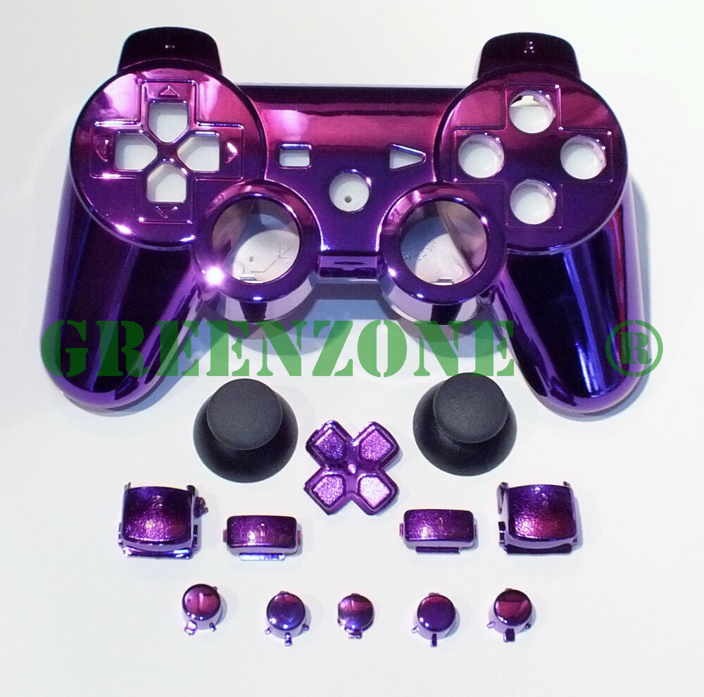 chrome purple replacement ps3 controller shell mod kit matching buttons kit ebay. Black Bedroom Furniture Sets. Home Design Ideas