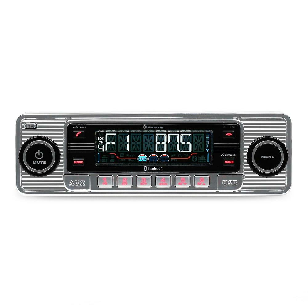 autoradio car radio tuner bluetooth silber usb mp3 retro. Black Bedroom Furniture Sets. Home Design Ideas