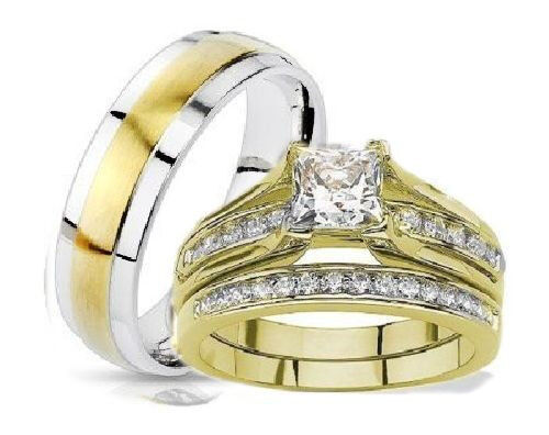 his and hers wedding rings 3 piece set yellow gold plated With 3 piece his and hers wedding rings