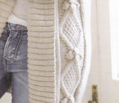 Knitting Patterns For Cable Jackets : Knitting Pattern- Ladies cable aran bobble Jacket - fits chest 32-54 inches ...