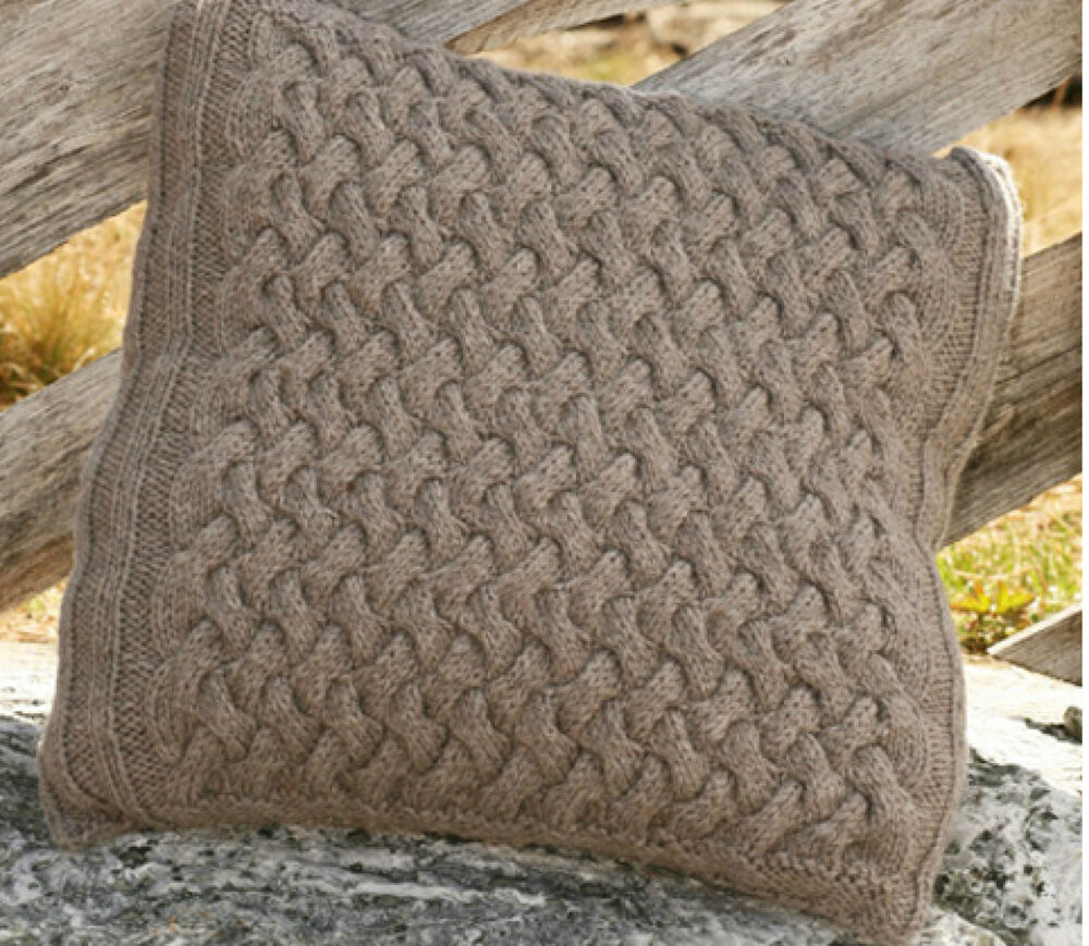 Knitting Pattern- Lovely Aran cushion cover, twisted cable design ...