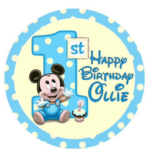 """MICKEY MOUSE 1st Birthday 20 x 2"""" or Large 7.5"""" Edible ..."""