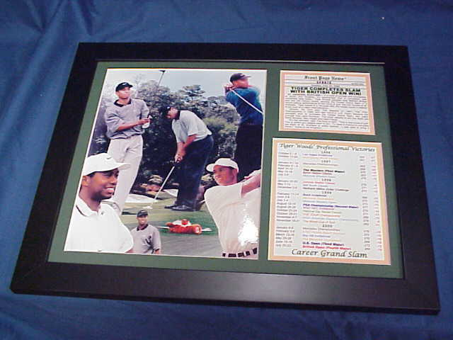 framed tiger woods career grand slam masters 8x10 photo british open win