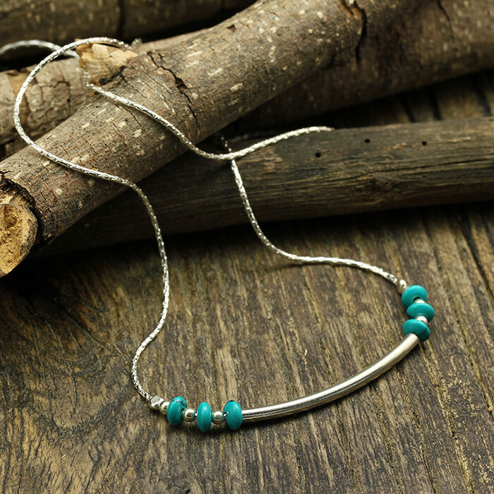 Handmade Turquoise 925 Sterling Silver Necklace Shiny Tube ...  |Newest Silver Artisan Jewelry