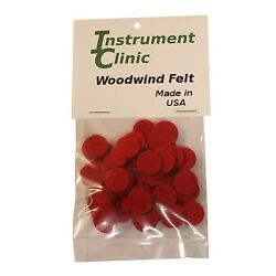 Saxophone Felt Discs, 5/8'' x 1/16'' Red, Pack of 50, Made in USA!