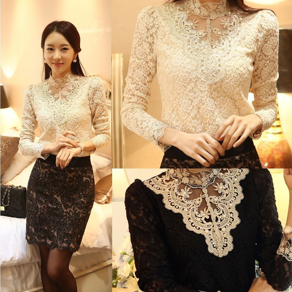 Women's Long Sleeve Turtle Neck Floral Lace Tops Blouse