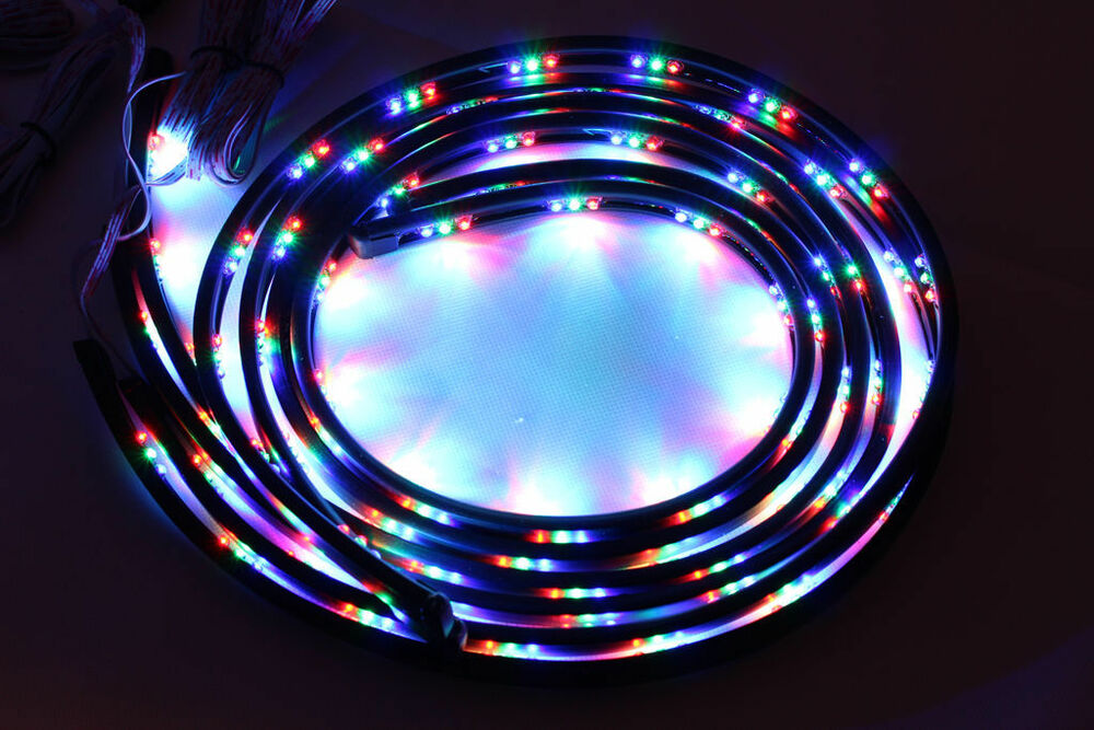 7 color led strip under car tube underglow underbody glow system neon lights kit ebay - Underglow neon ...