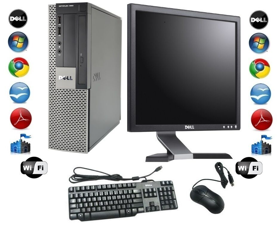 cheap desktop pc computer set dell windows 7 pro 17 tft. Black Bedroom Furniture Sets. Home Design Ideas