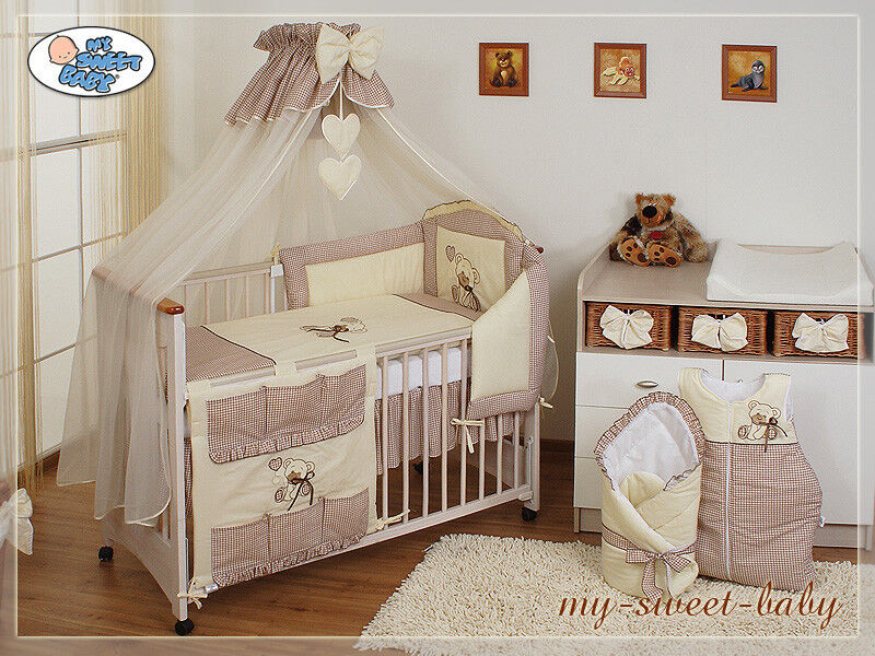 my sweet baby bettset betthimmel b rchen beige braun 6 13tlg 140x70 120x60cm neu ebay. Black Bedroom Furniture Sets. Home Design Ideas