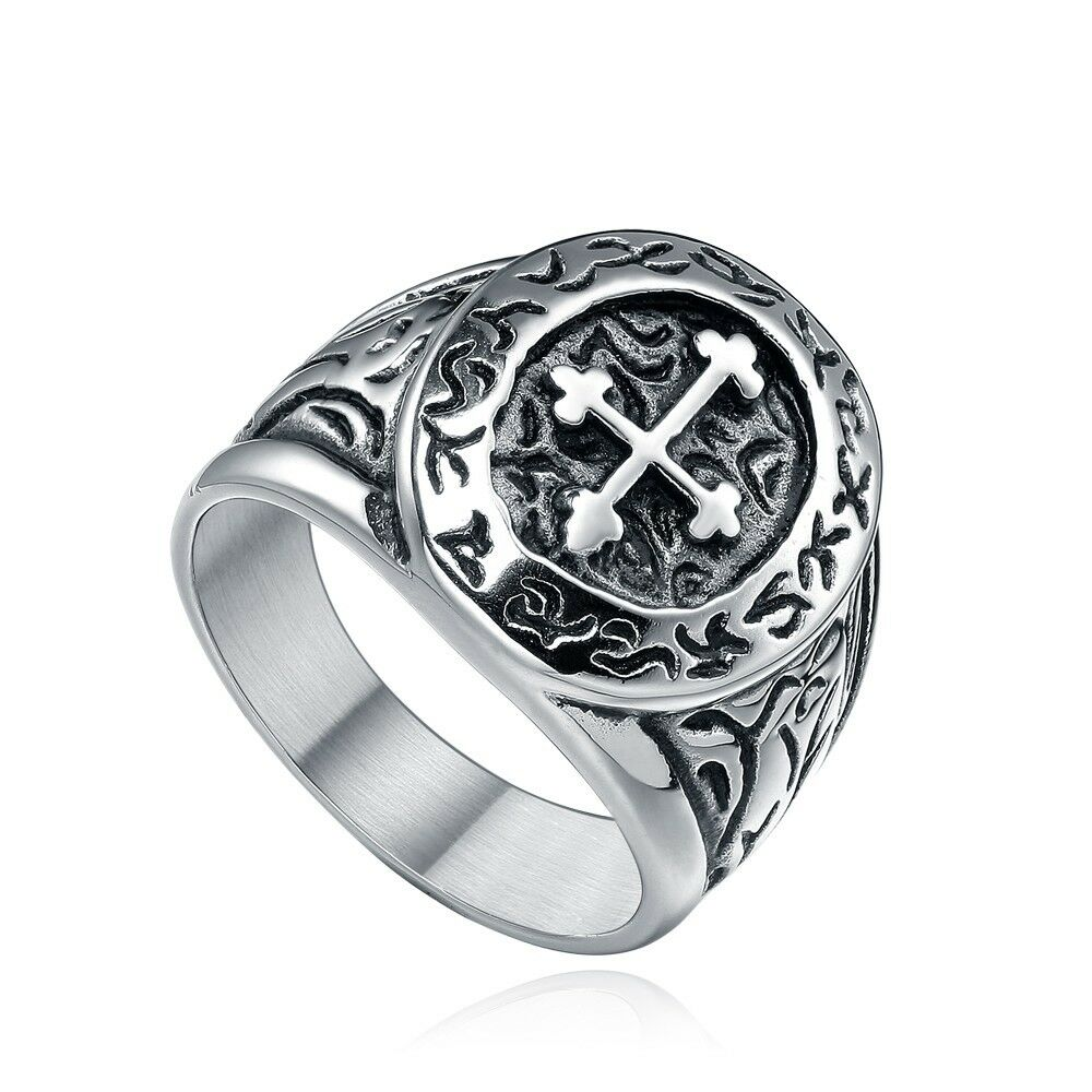Cool Rings: Cool Holly Cross Rings Solid 316L Stainless Steel Men's