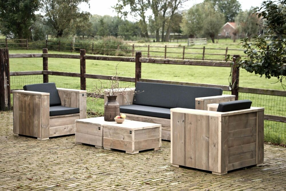 gartenm bel loungeset unbehandeltes ger stholz lounge garten holz bauholz neu ebay. Black Bedroom Furniture Sets. Home Design Ideas