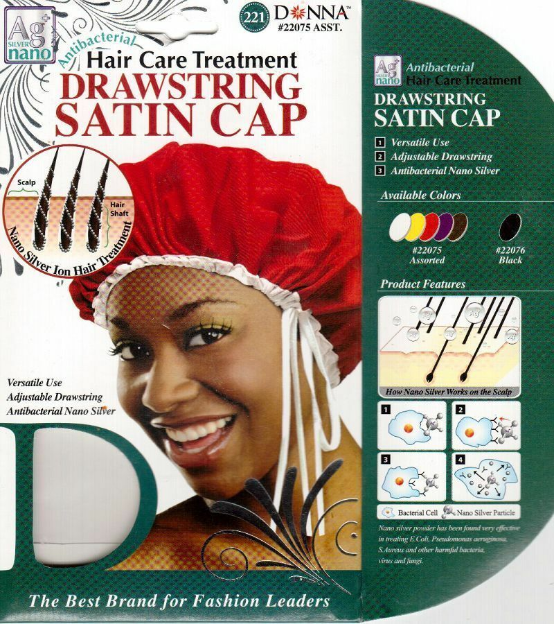 Donna Antibacterial Hair Care Drawstring Satin Cap 22075