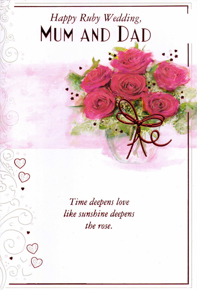 Mum and dad ruby wedding anniversary th traditional card