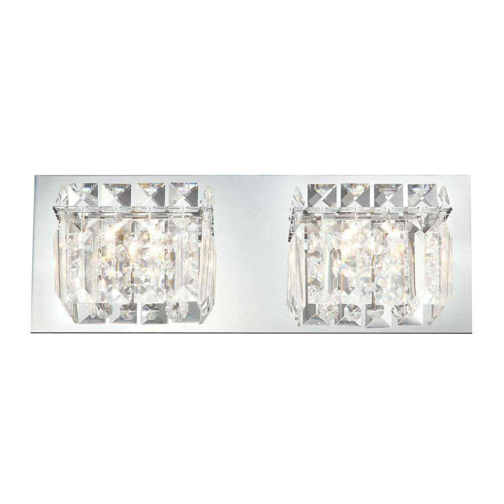 Crystal 2 light bathroom fixture wall candle sconce vanity for Bathroom 2 light fixtures