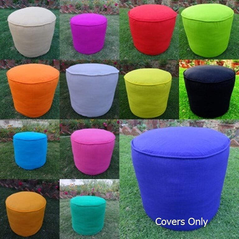 Cotton Foot Stool Ottoman Cover Pouf Round Furniture