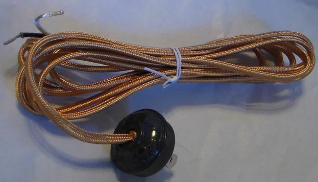 10 foot gold rayon lamp cord set with antique style acorn plug cs862 ebay. Black Bedroom Furniture Sets. Home Design Ideas
