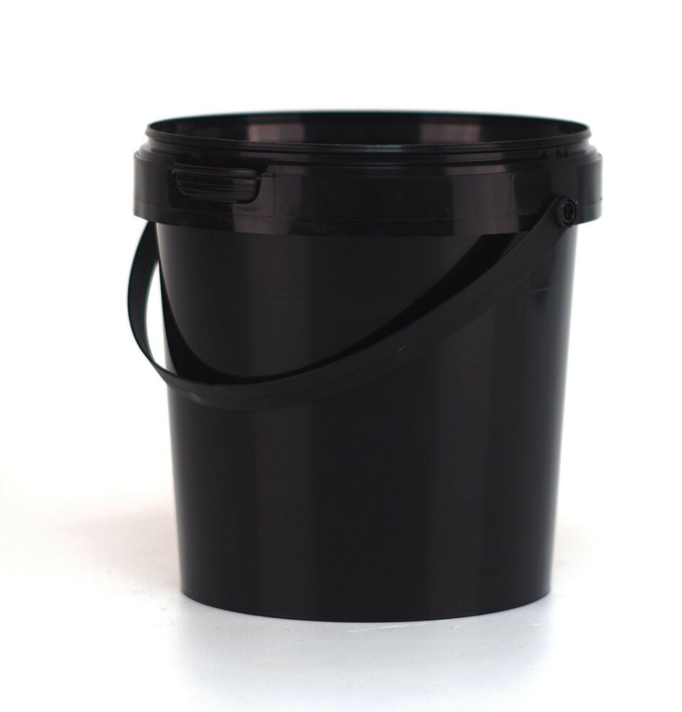 Small 1l plastic bucket with lid nail can paint tub ebay for Small pail buckets