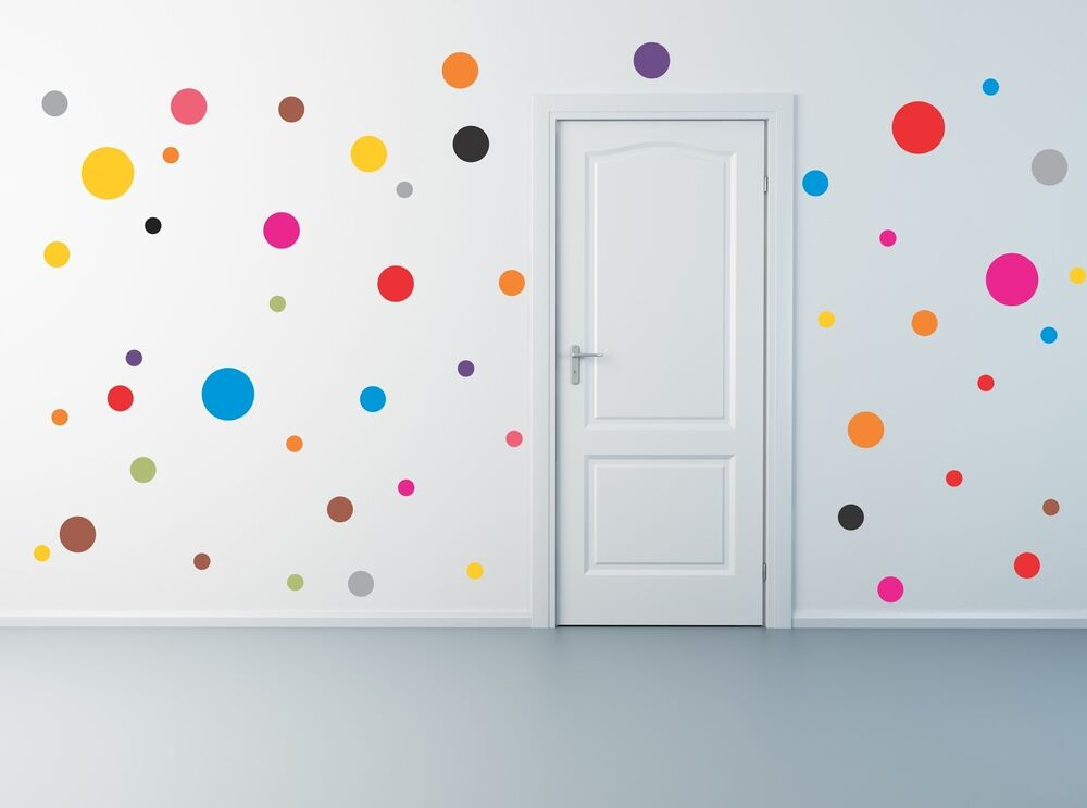 50 Polka Dot Wall Decals Removable Stickers Decor Mural
