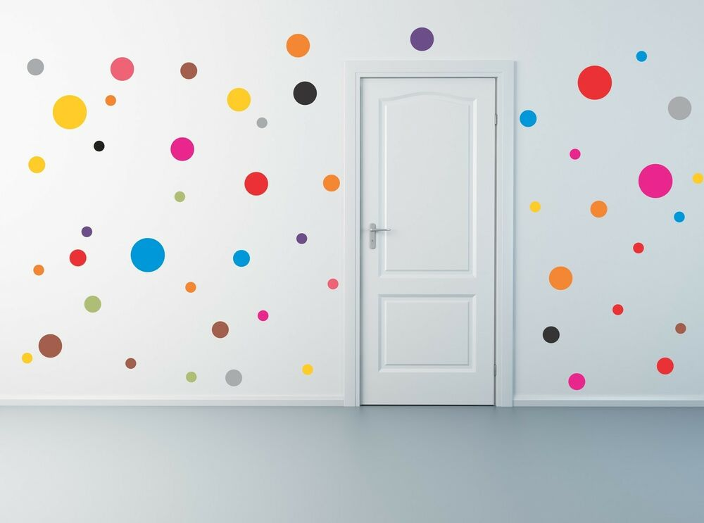 50 polka dot wall decals removable stickers decor mural for Childrens wall mural stickers
