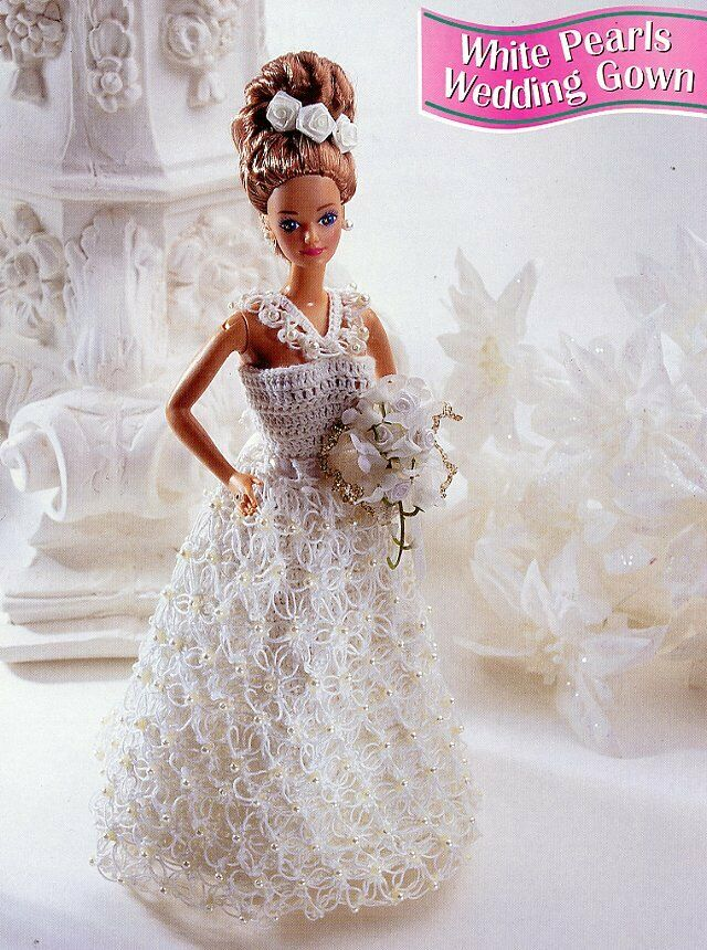 White pearls wedding gown for barbie doll crochet pattern for Paying for a wedding dress