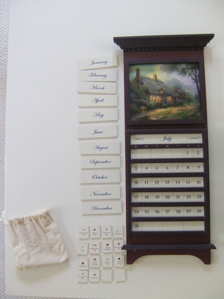 Thomas kinkade wood perpetual wall calendar seasonal prints tiles w mo days ebay - Wooden perpetual wall calendar ...