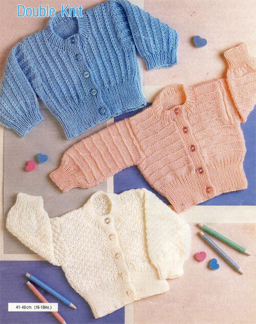 Knitting Pattern Baby Chest Sizes : Knitting Pattern- DK baby easy Knit cardigans- 3 styles- fits chest 16-18 inc...