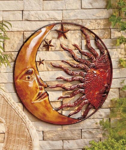 Metal celestial moon sun decor garden art indoor outdoor for Outside wall art