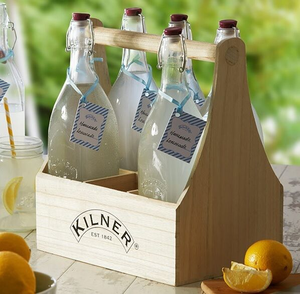Kilner Wooden Bottle Caddy Wine Holder Crate Rustic