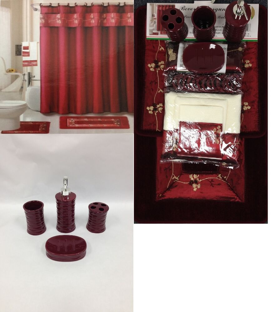 22pc bath accessories ceramic set beverly burgundy - Bathroom shower curtains and accessories ...