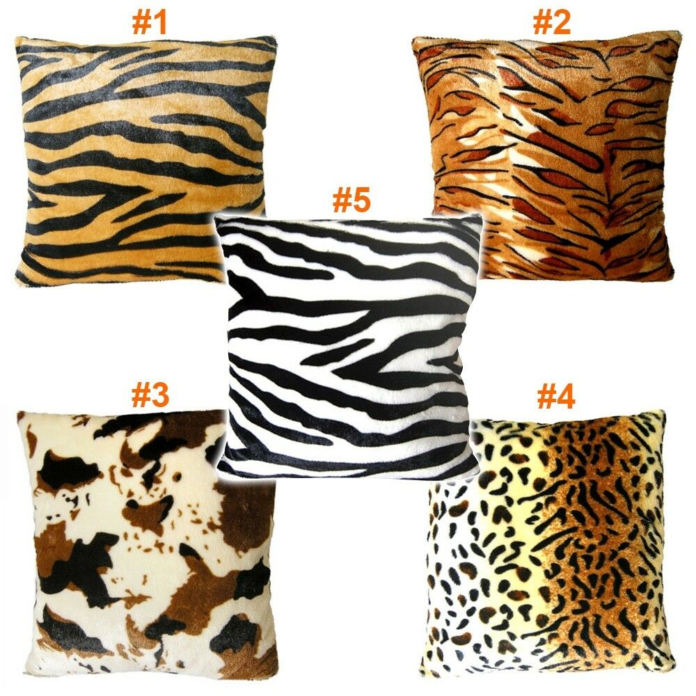 Animal Multi Pattern Faux Fur Decorative Throw Pillow