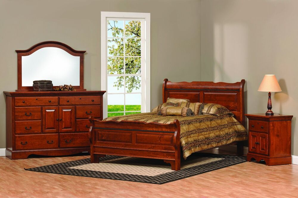 amish sleigh raised panel bedroom set solid wood furniture king queen full ebay. Black Bedroom Furniture Sets. Home Design Ideas