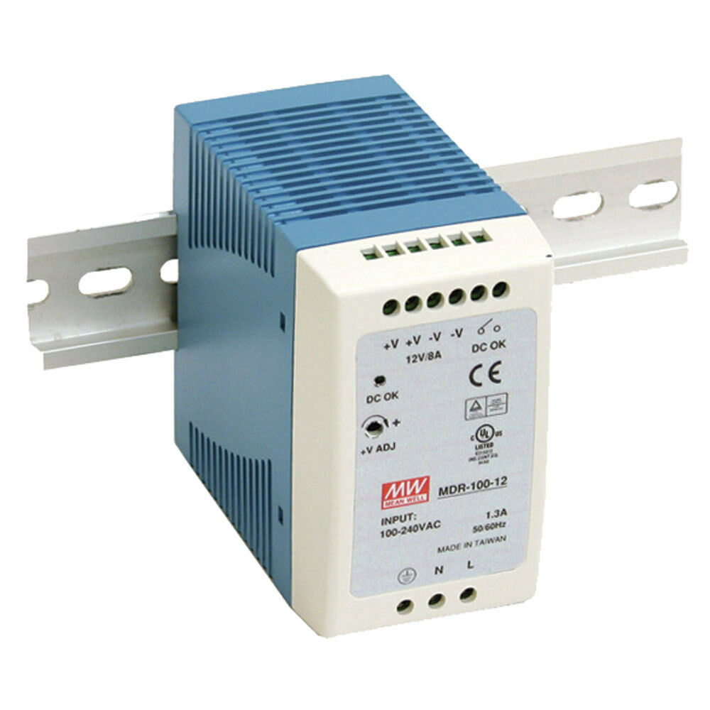mean well mdr 100 12 ac to dc din rail power supply 12 volt 7 5 amp 90 watt ebay. Black Bedroom Furniture Sets. Home Design Ideas