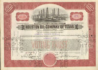 Houston Oil Company of Texas   1940s stock certificate share