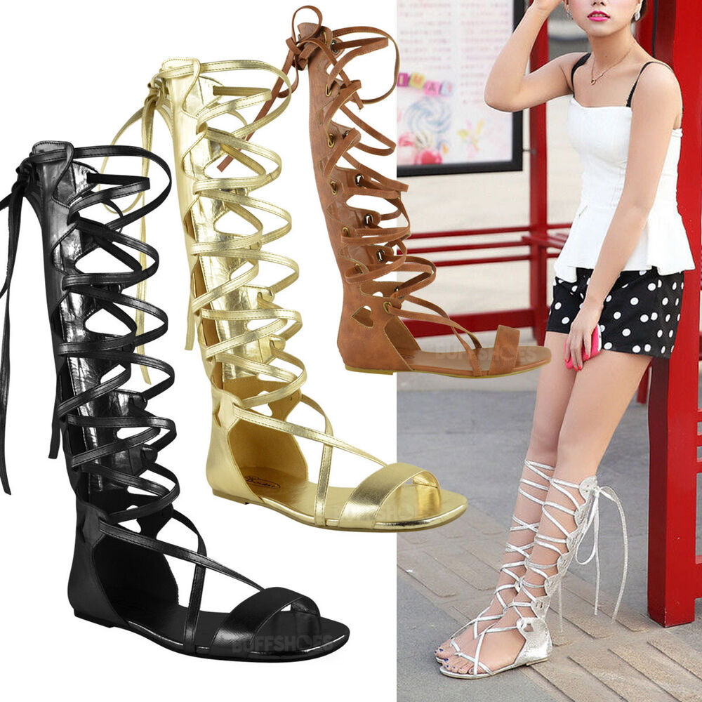 ladies womens knee high gladiator sandals flat lace up strappy