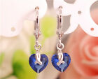 Sterling silver pretty lovely amazing blue heart cubic zirconia drop earrings