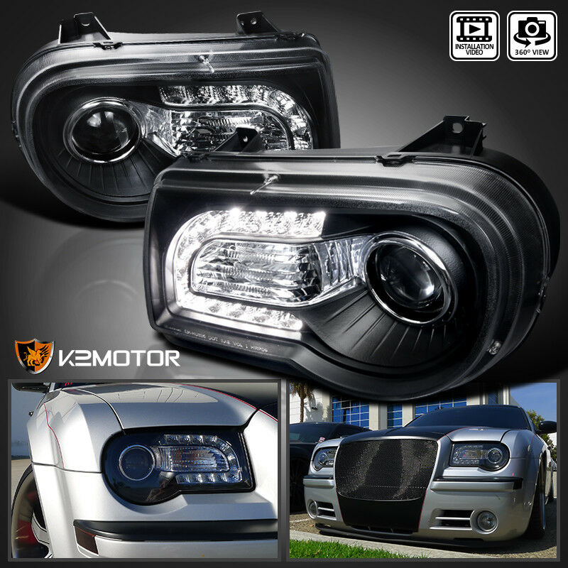 2005 2010 chrysler 300c black led drl strip projector. Black Bedroom Furniture Sets. Home Design Ideas