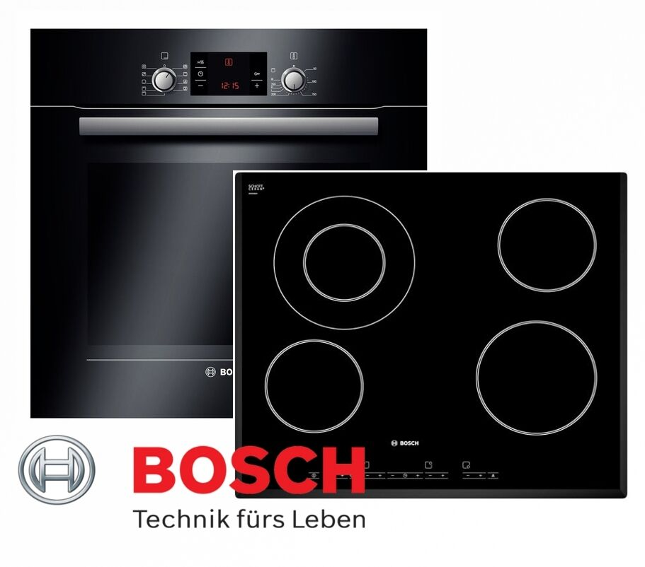 bosch herdset autark schwarz backofen teleskopauszuge glaskeramik kochfeld neu ebay. Black Bedroom Furniture Sets. Home Design Ideas