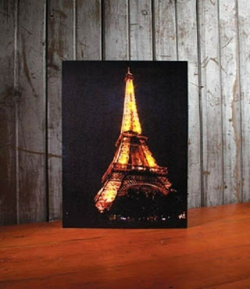 Eiffel tower paris france lighted canvas wall decor sign for Art decoration france