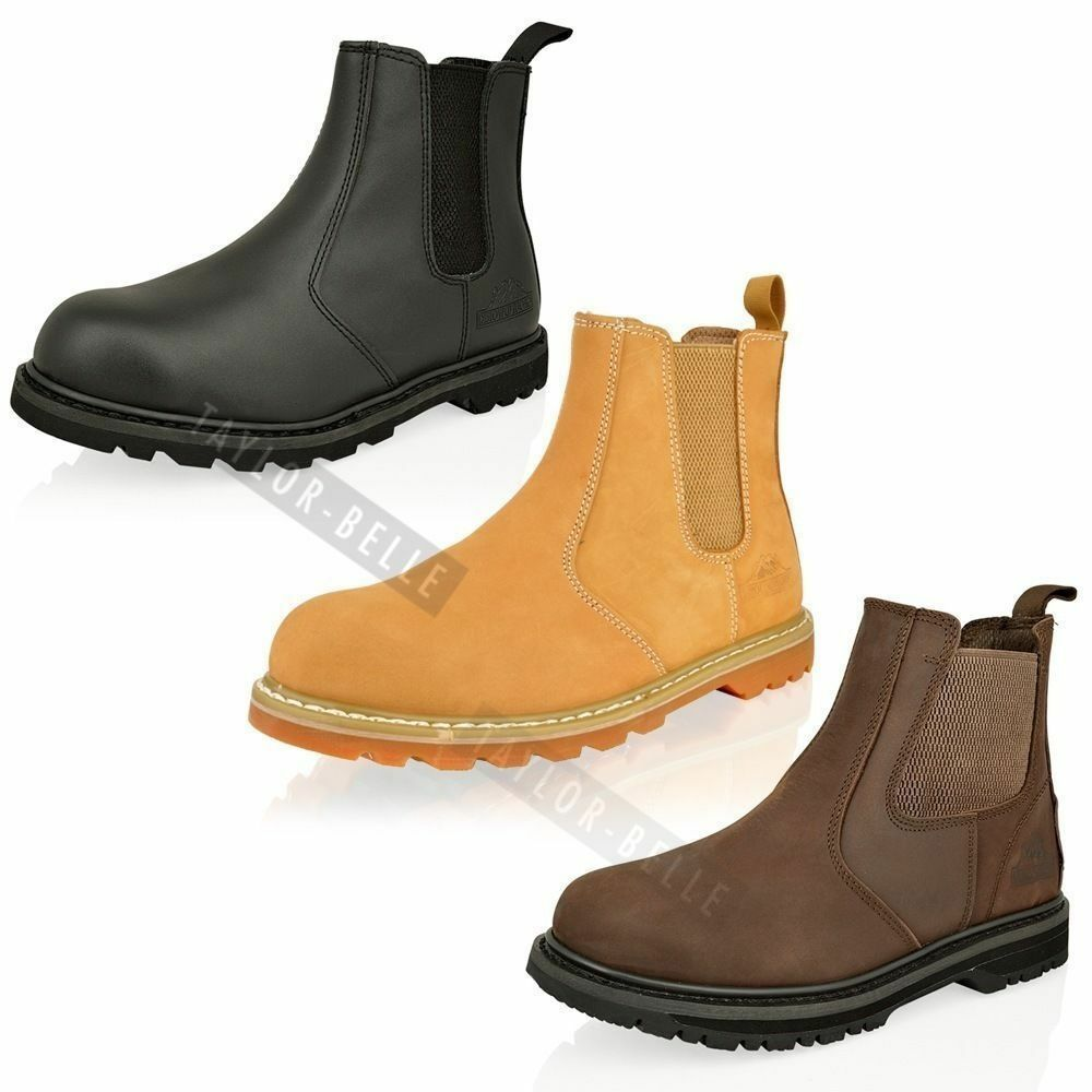 MENS STEEL TOE CAP SAFTEY WORK SLIP ON CHELSEA ANKLE DEALER BOOTS ...