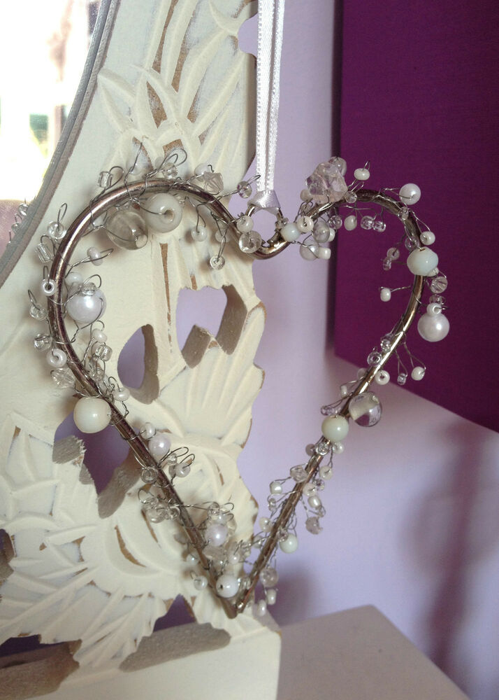 Beaded Hanging Heart Decoration Pearl Amp Crystal White